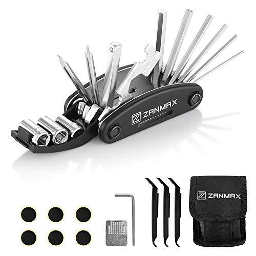 ZANMAX Fahrrad Reparatur Set, Fahrrad-Multitool 16-In-1 Fahrrad Werkzeug Set, Reifenheber Selbstklebendes Fahrradflicken, Innensechskantschlüsseln Usw(Schwarz)