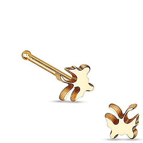 1 x Rose Gold überzogene Schmetterling Tier Nase Stud Bone Piercing Dicke: 0,8mm Länge: 6mm Material: Chirurgischer (Gold Überzogenes Onyx Stud)