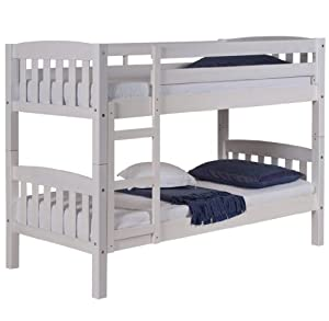 Verona Design Pine Wood America White Bunk Bed with Painted, 171 x 145 x 99 cm, 1-Piece, White Pine