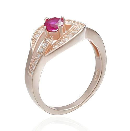 SonMo Ring Damen 925 Silber Hohl Blatt Bandring Verlobungsring Hochzeitsringe Rose Gold Ring Frauen Diamand Größe 57 (18.1)