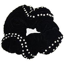 Señoras accesorios para el pelo de terciopelo negro brillante diamantes mujeres Scrunchies