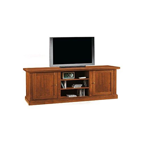Meuble TV, style classique, en bois massif et MDF avec finition noyer brillant - Dim. 46 x 160 x 56