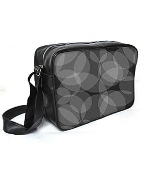 Snoogg Kreise grau schwarz Muster Leder Unisex Messenger Bag für College Schule täglichen Gebrauch Tasche Material PU