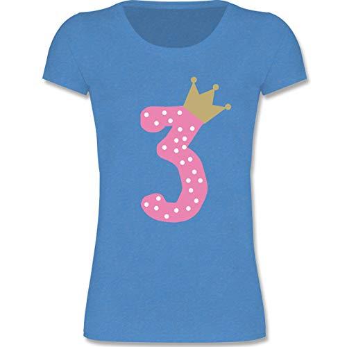 (Geburtstag Kind - 3. Geburtstag Krone Mädchen - 98-104 (3-4 Jahre) - Blau meliert - F288K - Mädchen T-Shirt)