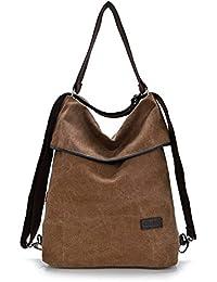 HongyuTing Vintage Canvas Women Shoulder Bag Retro Backpack Daypack Multifunctional Bag for Work, School and Casual Daily