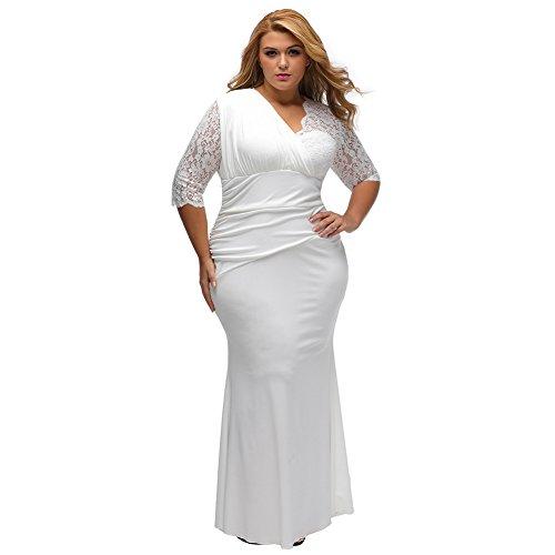 Yueyuefa Full-figured Womens élégant moitié manches robe de mariée White