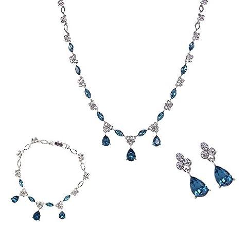 BiBeary Damen Kristallen Zirkonia CZ elegant Tropfen design Dangle Blume oval Schmuck Set Halskette Kette Ohrringe blau Silber-Ton