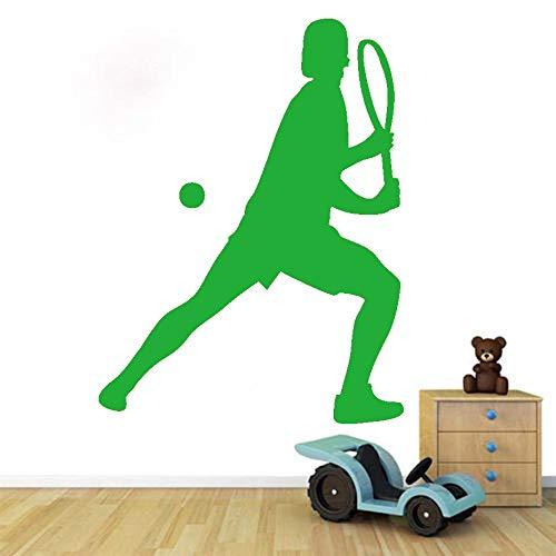 Vinile adesivo murale complementi arredo casa femmina giocando a tennis adesivo da parete adesivo sportivo fatto a mano murale per soggiorno camera delle ragazze ~ 1 58 * 77 cm