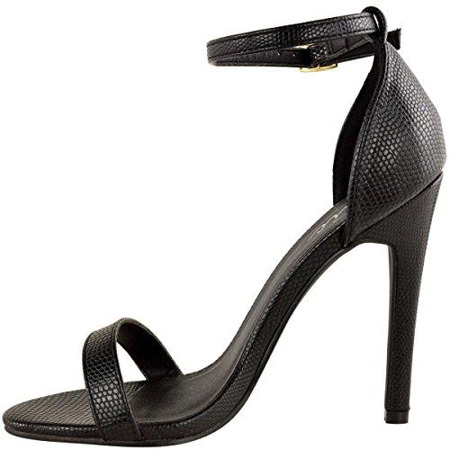 Da donna in acciaio inox a forma di scarpa con tacco a livello della caviglia etto con Peep tappete NERO LUCERTOLA similpelle