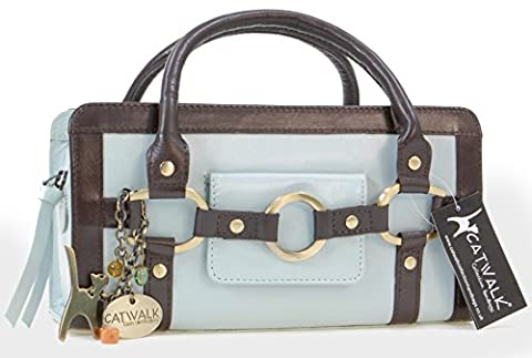 Catwalk Collection Leather Grab Bag - Milan - Mint and Brown