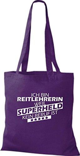 Shirtstown Stoffbeutel Ich bin Reitlehrerin, weil Superheld kein Beruf ist lila