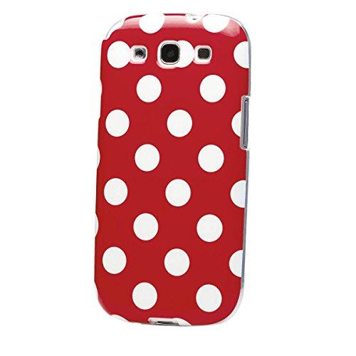 Samsung Galaxy S3 | iCues Polka Dots TPU Case Rot | [Display Schutzfolie Inklusive] Damen Frauen Mädchen Silikon Gel Motiv Muster Schutzhülle Hülle Cover Schutz - Samsung Case Gel S3
