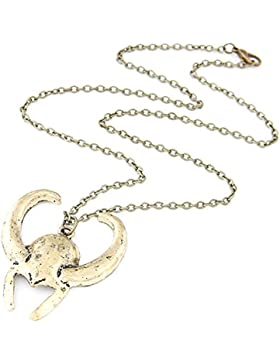 brüniert Gold Vintage Marvel Thor Loki Helm Zinn Avengers Anhänger Halskette