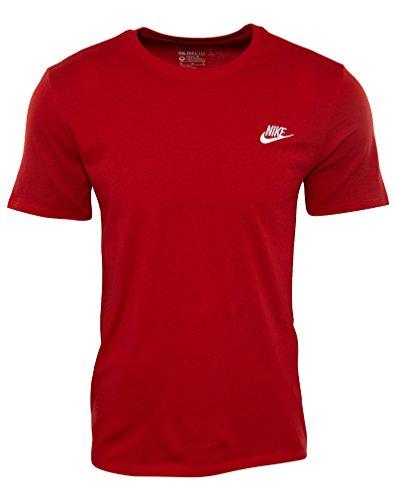 Nike Herren Club Embroidered Futura T-Shirt, Rot (Sport Netz / Sport Netz / White), XL