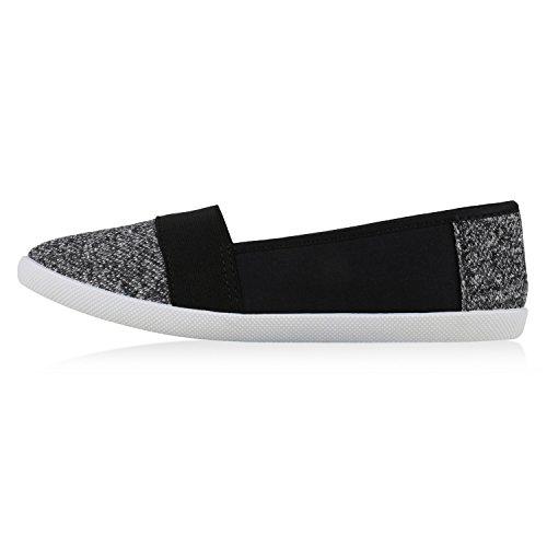 Bequeme Damen Slipper | Slip-ons Sportliche Schuhe | Flats Stoffschuhe | Prints Glitzer | Freizeitschuhe Schwarz Grau