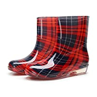 HHYHOME Womens Rain Boots Print Wellington Boots Short Leg Half Height Wellies Easier on Off Textile Lined Casual Shoes Good for Wider Calf Fitting