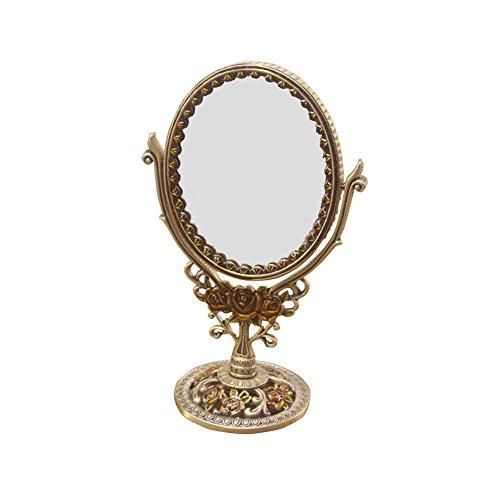 ZYDSD Kosmetikspiegel Schminkspiegel - Vintage Bronze Spiegel, Metall Doppelseitiger Schminkspiegel Kosmetikspiegel Ankleidezimmer Badezimmer