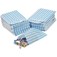 CANDY STRIPE PAPER BAGS SWEET FAVOUR BUFFET GIFT SHOP PARTY SWEETS CAKE WEDDING 9 Colours Designs- UK Seller- Same Day Dispatch (50 Bags, Aqua/Light Blue)
