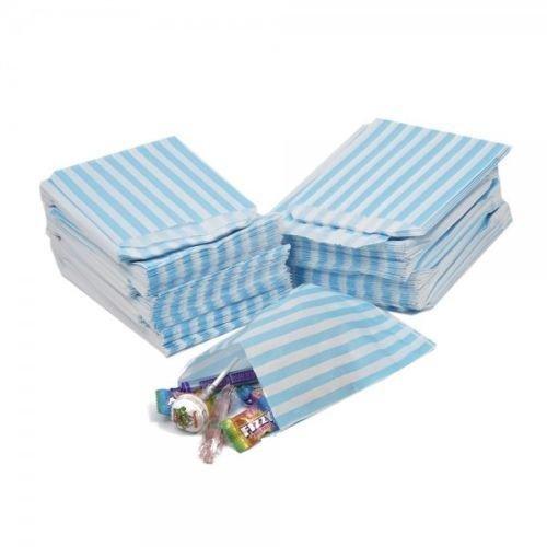 Papiertüten für Süßigkeiten, gestreift und gepunktet, 12,7x 17,8cm, für Partys, Süßigkeiten, Kuchen, Geschenke, Aqua/ Light Blue, 100 Bags