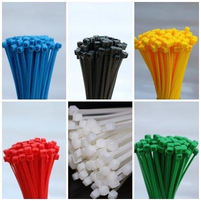 600 Stück Set Kabelbinder farbig bunt je 100 Stück Schwarz Grün Natur Rot Gelb Blau 2,5 x 100 mm (Farbige Kabelbinder)