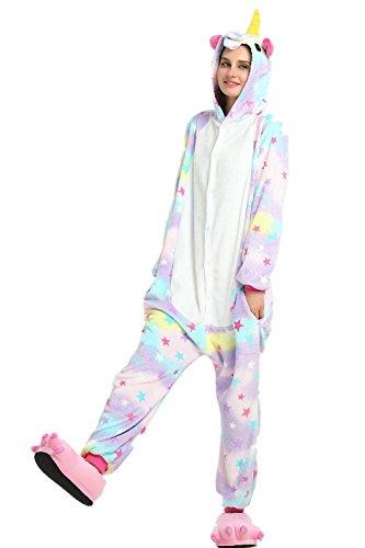 Rainbow Unicorn Schlafanzug Unisex Erwachsene Einhorn Pyjama Tier Flanell Cosplay Jumpsuits Kostüme Party Overalls Halloween Karneval Neuheit Schlafanzüge (Star, M) (Star-mädchen-schuhe)