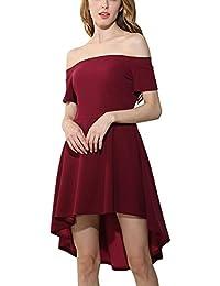 Mujer Vestidos Midi Vestido de Fiesta Coctel Noche Elegante Irregular - Vino Rojo / L