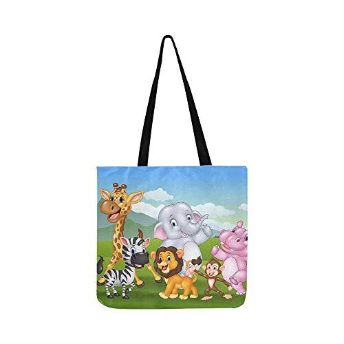 Animal salvaje de dibujos animados en el bolso de lona de la...