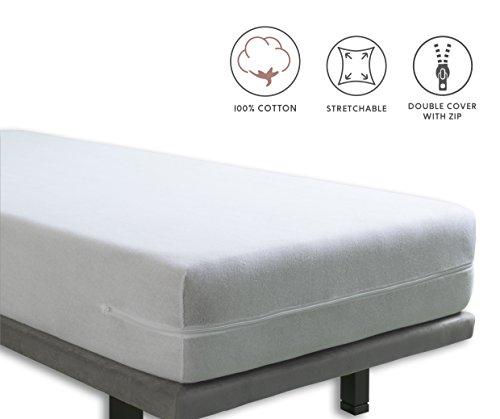 Tural – Funda de colchón elástica con cremallera. Rizo 100% Algodón. Talla 180x190/200cm
