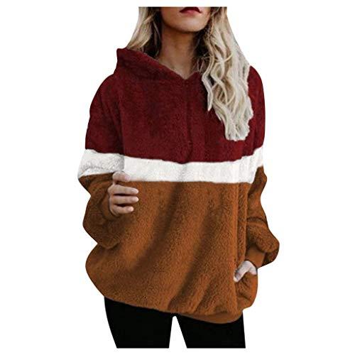 iHENGH Damen Herbst Winter Bequem Lässig Mode Jacke Frauen Mode Frauen Knopf Mantel Flauschige Schwanz Tops Mit Kapuze Lose Mantel(Rot-1, 2XL)