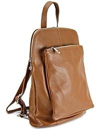 Backpack Seattle ital. Leder Rucksack Handtasche Cross Body Bag 3in1 - Farbauswahl - 29x32x11 cm (B x H x T) (Rot) Belli
