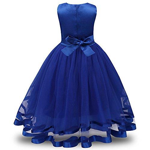Honestyi BabyBekleidung Blumenmädchen Prinzessin Brautjungfer Pageant Tutu Tüll Kleid Party Hochzeitskleid (130,Blau)