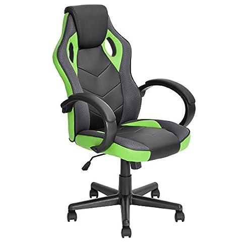 FurnitureR Fauteuil PU Racing style fauteuil de gaming ergonomique ordinateur Siège Chaise de bureau