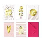 5 Geburtstagskarten im Set inkl. Umschläge in pink. Rosa Glückwunschkarten zum in DIN A6 mit edler Folienprägung in Gold. Klappkarten zum Geburtstag, Hochzeit, Geburt, Firmung, Konfirmation