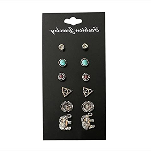 PU Ran 6paires/Lot Lady vintage Turquoise Triangle Charms Boucles d'oreille