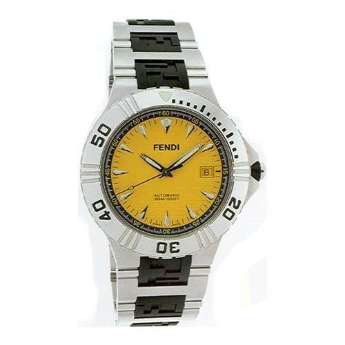 Fendi Men's 43mm Steel Bracelet & Case Anti Reflective Sapphire Automatic Yellow Dial Analog Watch F495150