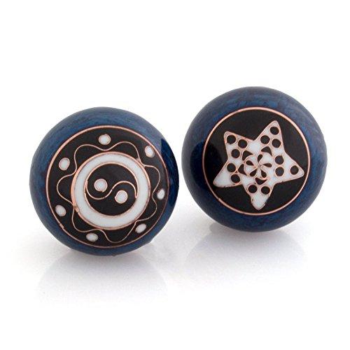 Meditation Qi-Gong-Kugeln mit Klangwerk   Klangkugeln   Yin Yang   Design Yin Yang Ornament blau   verschiedene Durchmesser (Ø 40 mm) Blaue Kugel Ornamente