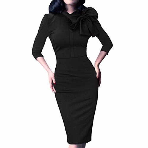 Bow Neck Medium manches col rond Crayon Robes Femmes Paquet Hip Bodycone Dress Noir