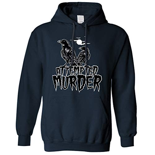 Tim And Ted Halloween Kapuzenpullover Mordversuch Crow Pun Navy X-Small