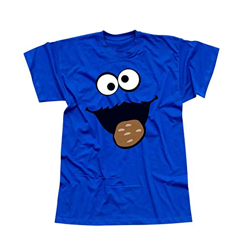 (T-Shirt Krümelmonster Kekse Karneval Fasching Kostüm Sesamstraße Herren XS - 5XL Verkleidung Gruppen-Kostüm Rosenmontag Party Feier, Größe:XL, Farbe:royal)