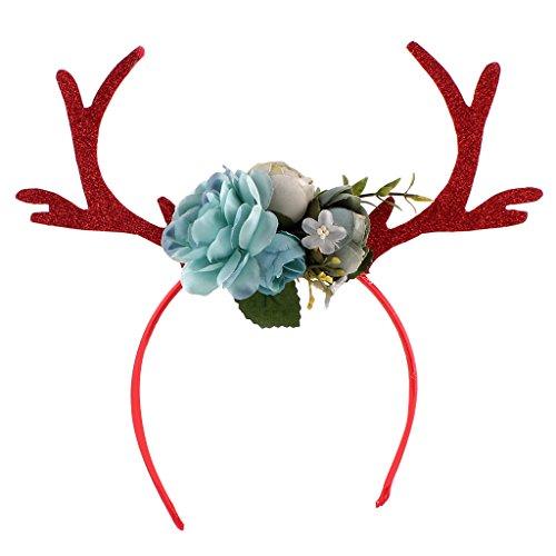 Kinder Weihnachten Blumen Geweihe Kostüm Haarreif Haarband - Blau (Online Erwachsenen Kostüme)