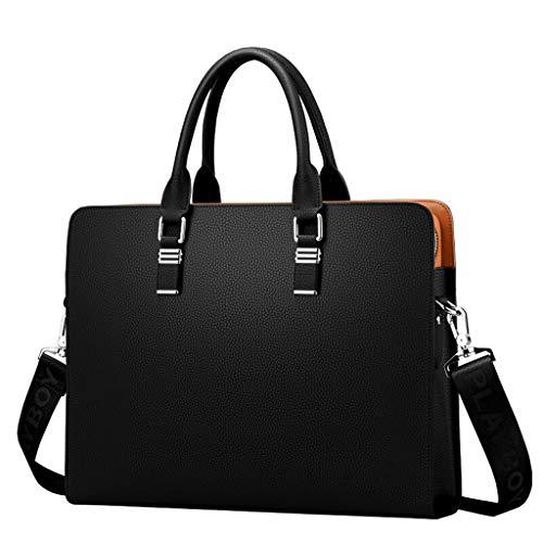 Aktentasche aus Leder, Schulter Messenger Bag, für Männer Ledertasche für Laptoptasche Business Work Office Bag Deluxe schwarz, DX06