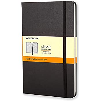 Moleskine Classic Ruled Paper Notebook Hard Cover and Elastic Closure Journal, Colour Black, Size Large 13 x 21 240 Pages