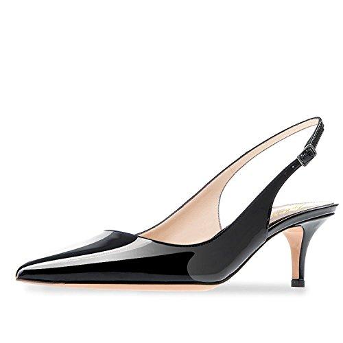Lutalica Frauen Kitten Heel Spitze Patent Slingback Kleid Pumps Schuhe für Party Patent Schwarz Größe 44 EU (Womens Patent-oxford-schuhe)