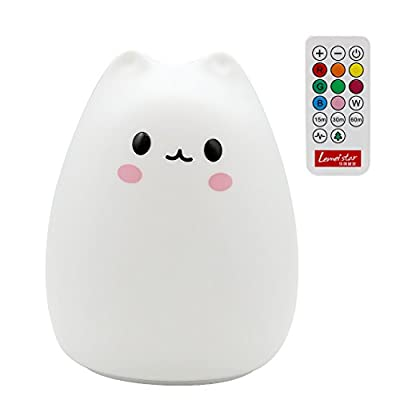 Night Light Cat, SCOPOW Portable Plastic Cute Cat Lamp Remote Timer Lamp Sensitive Tap Control Lamp Warm White& 7-color Breathing Dual Light Mode Intelligent Bedside Lamp For Kids Bedroom Nursery produced by SCOPOW - quick delivery from UK.
