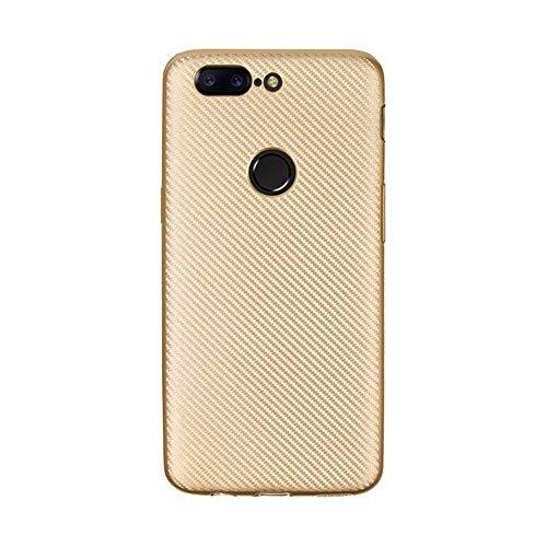 JEEXIA® Funda para Xiaomi Redmi 6A / Redmi 6, Suave Silicona TPU cáscara del teléfono Antideslizante Anti-caída Fibra de Carbono Cubierta Protectora - Oro