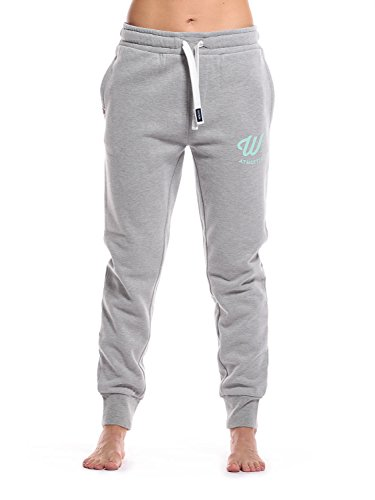 WOLDO Athletic Damen Jogger Jogginghose Trainingshose Sweatpants Slim Fit (M, Clark grau/ mint)