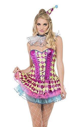 Fancy Me - Damen Sexy Fever Neon Rosa Harlequin Clown Zirkus Karneval Halloween Kostüm - Rosa, (Neon Hut Clown)