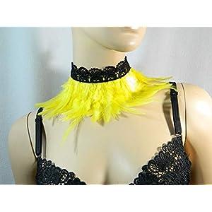 Feder Halsband Kragen Sonnengelb Choker Kropfband Kette Karneval Kostüm Vogel Federkragen Papagei