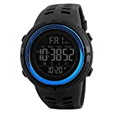 Funytine Mens 50m Impermeable Digital LED Deporte Militar Casual Electrónica Relojes de Pulsera (Color : Blue)