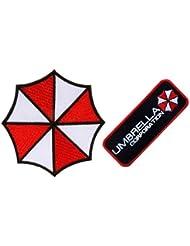 """SSLINK Parches de Resident Evil, diseño de paraguas y texto """"Umbrella Corporation"""", bordados, para planchar, aprox. 9cm x aprox.: 9cm, aprox.: 10 cmx aprox.: 3,5cm"""